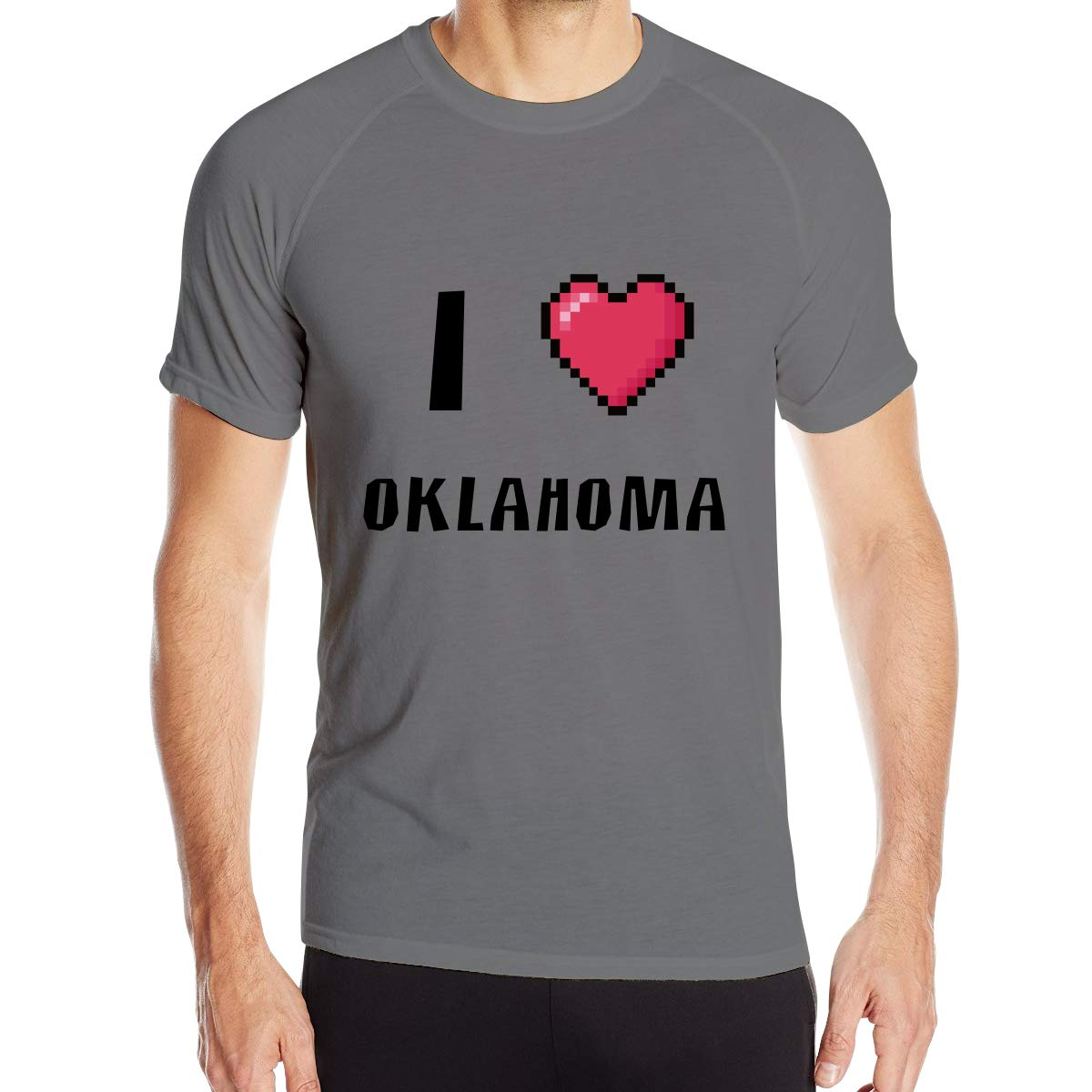 Mens I Love Oklanoma Quick Dry Athletic Shirts Short Sleeve Training Casual Clothes