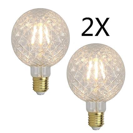 YWXR Edison Bombilla LED E27 Socket - 2 Piezas, 4W, 2700K, Blanco ...