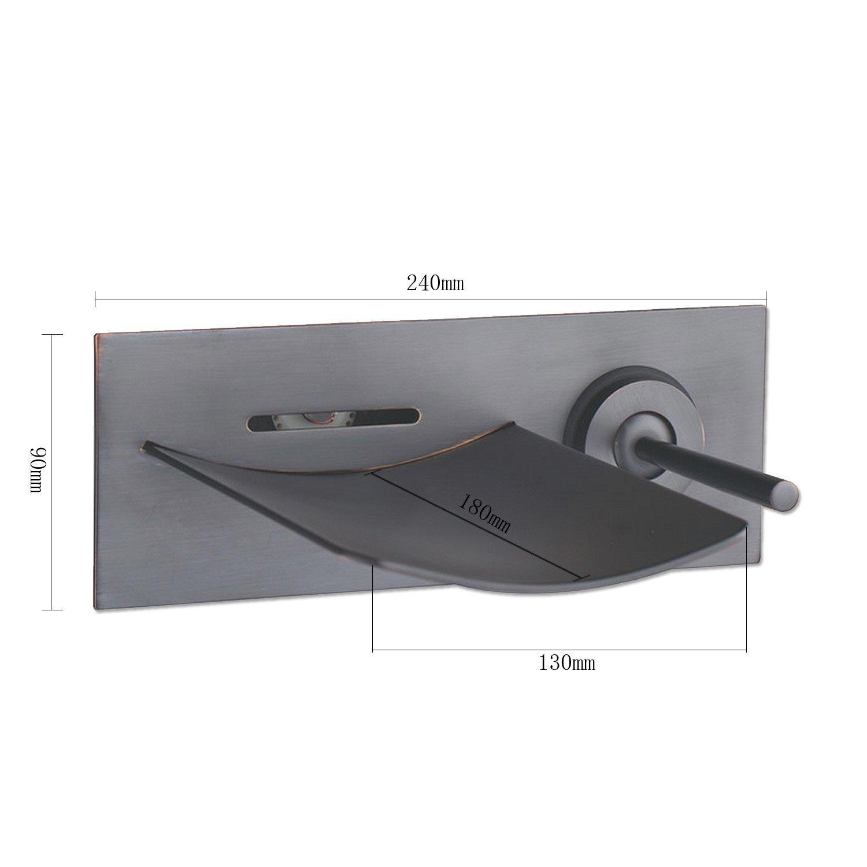 Wovier LED Oil Rubbed Bronze Wall Mount Bathroom Sink Faucet Water Flow,Single Handle Single Hole Vessel Lavatory Faucet,basin Mixer Tap