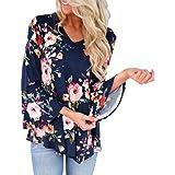 Elecenty Damen Übergröße Tops Pullover Bluse Blusen Blumen T-Stücke Langarm-Bluse  Langarmshirt Sommerhemd 6e1b6ff507