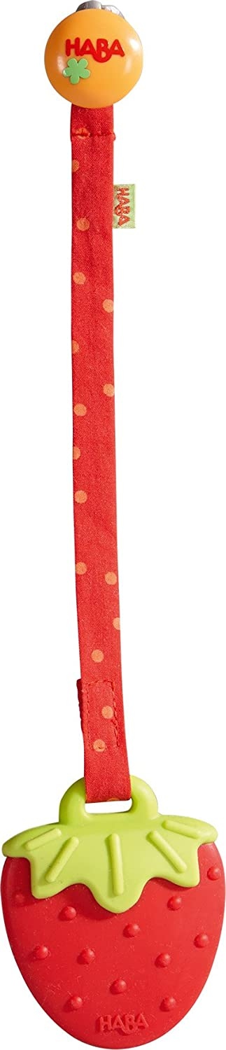 HABA Clutching Toy Strawberry Silicone Teether with Strap