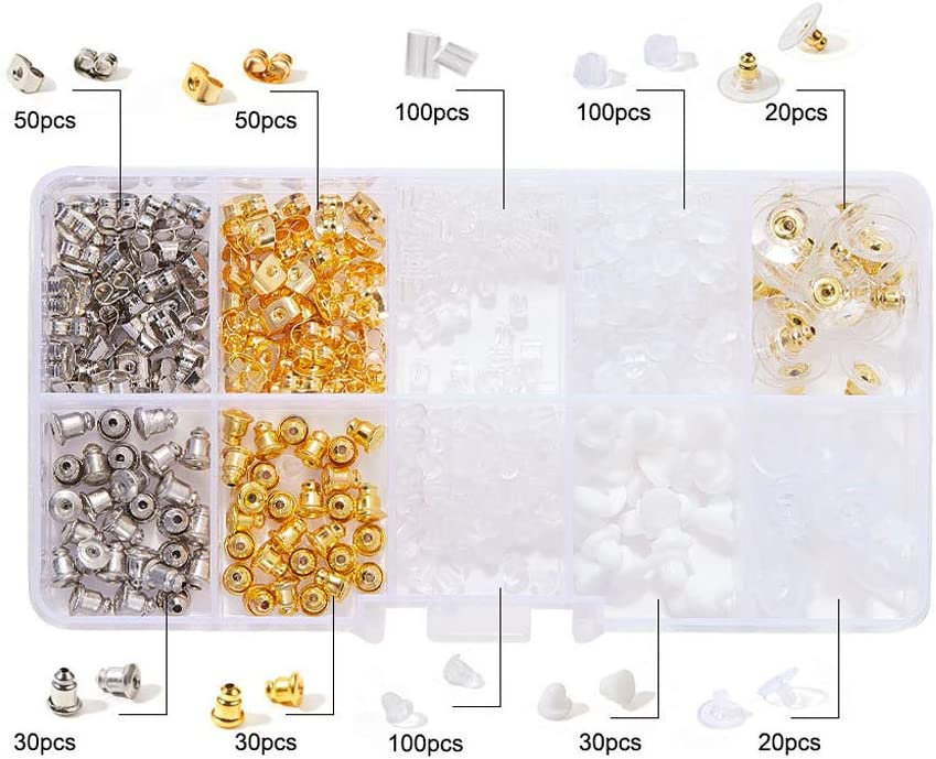 MAOSUO 500Pcs10 Style Silicone Metal Assorted Secure Earring Backs Box Jewelry Findings