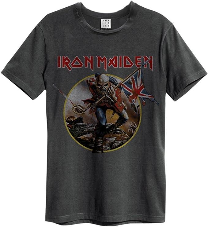 Camiseta Amplified oficial, unisex, con diseño de la canción The Trooper del grupo Iron Maiden, de estilo vintage y disponible en todos los tamaños: Amazon.es: Ropa y accesorios