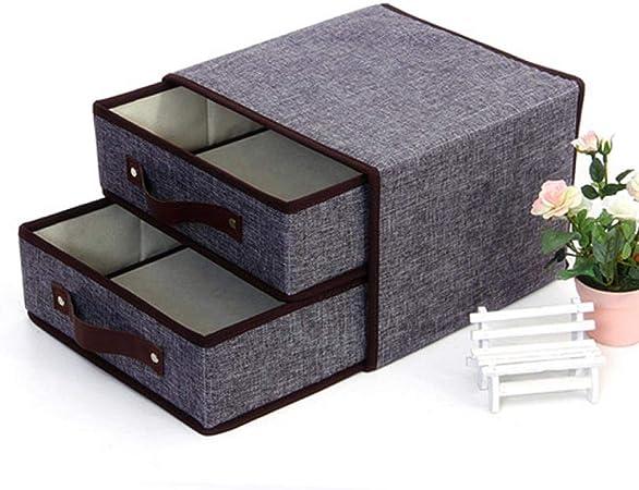 Caja con tapa, caja de plástico, caja plegable con tapa Lino plástico plegable cesta Cubo organizador Cajas Contenedor cajones caja plegable para oficina Dormitorio Shelf gris: Amazon.es: Hogar