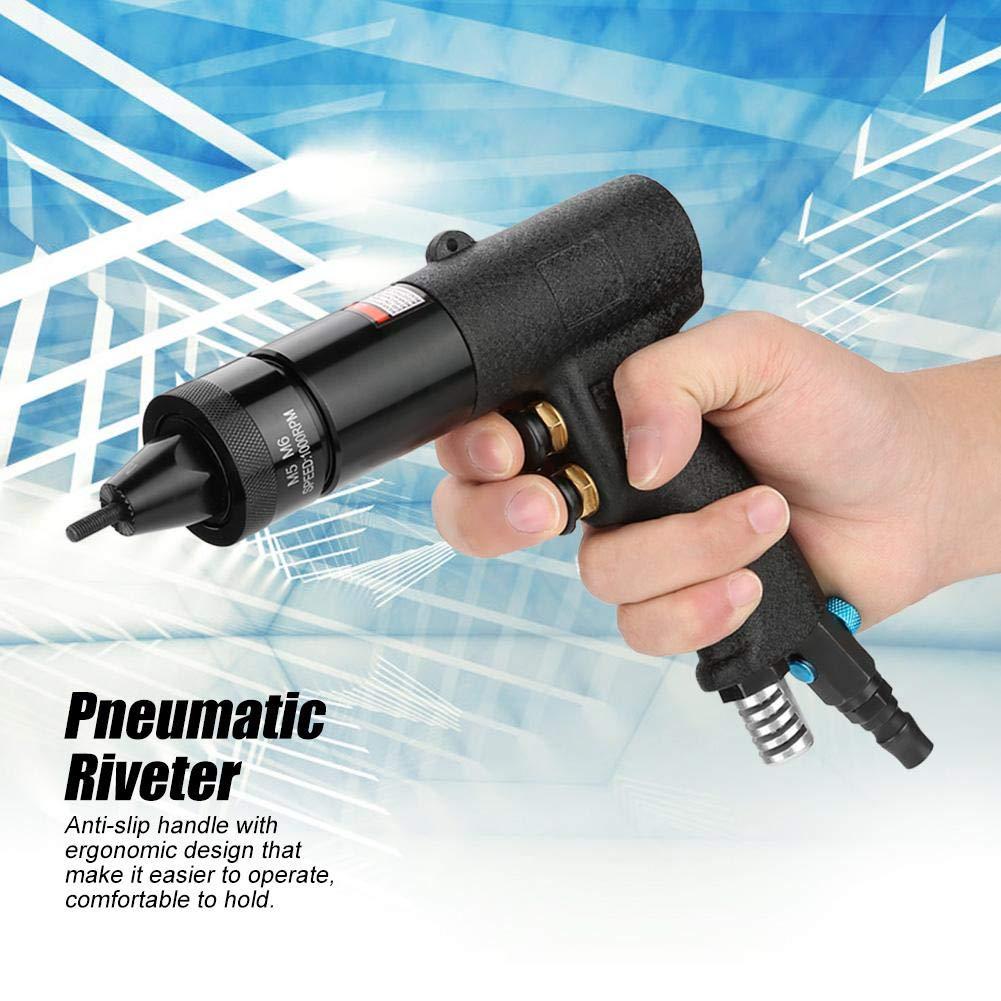 Pneumatic Riveting Gun, Pull Nut Automatic Air Riveter Nut Gun Tool, Air Pull Rivet Nut Gun Riveting Tool Riveter 1/4, 1000rpm(M5/M6) by Acogedor (Image #4)