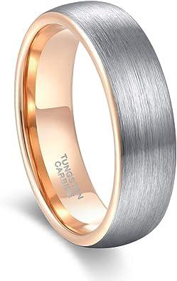 Alianzas de tungsteno, anillo de oro gris, con anillos de bodas 6 ...