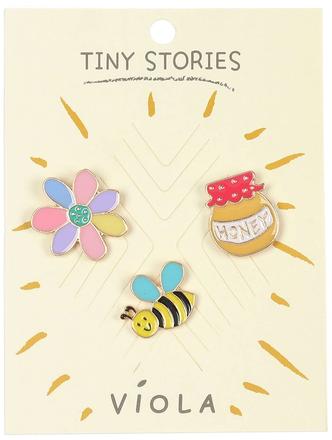 Destinee's flower bumble bee honey 3 PC SPRING PIN AND BROOCH
