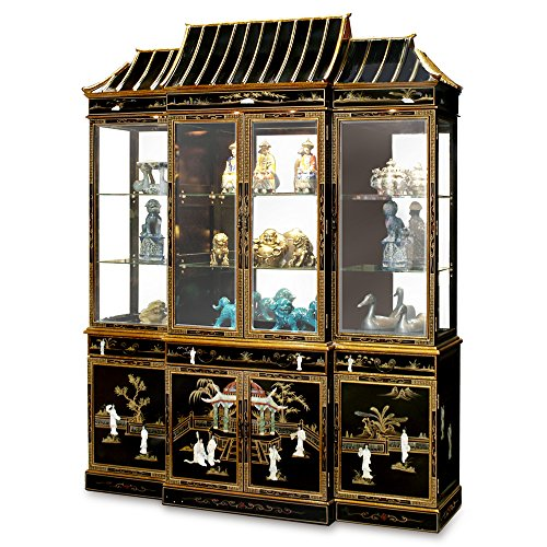 - ChinaFurnitureOnline Black Lacquer China Cabinet, Pagoda Top Motif Mother Pearl Courtesan Design in Black Gold