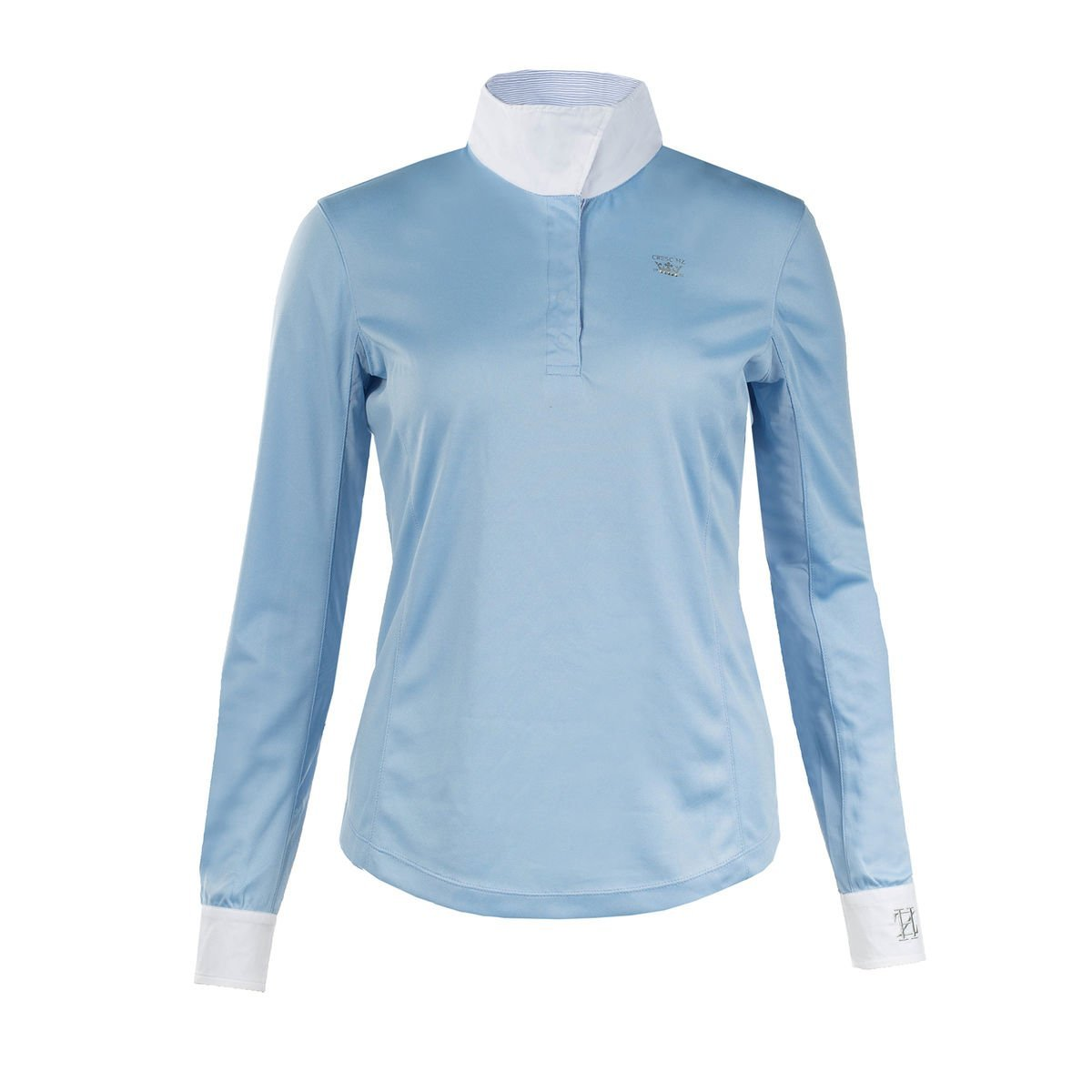 HORZE Blaire Ladies UV Ice Fit Long Sleeve Show Shirt, Blue, 10 by HORZE