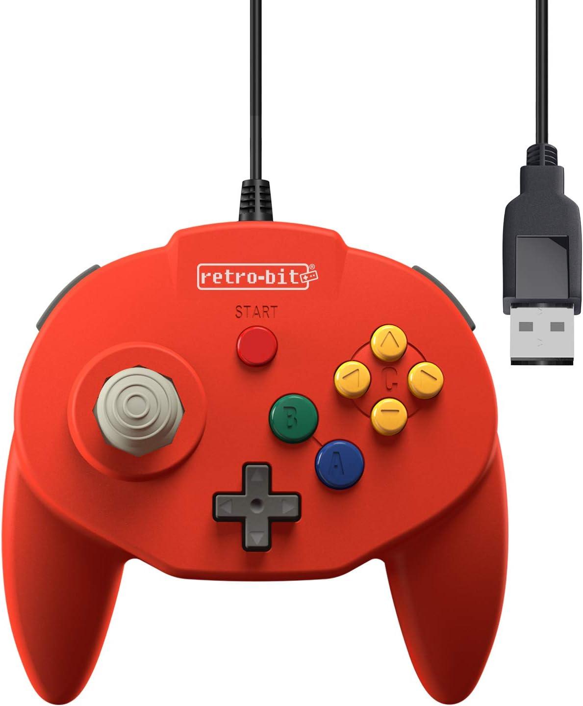 Retro-Bit Tribute 64 USB Controller for PC, Switch, Mac, Steam, RetroPie, Raspberry Pi - USB Port - (Red)
