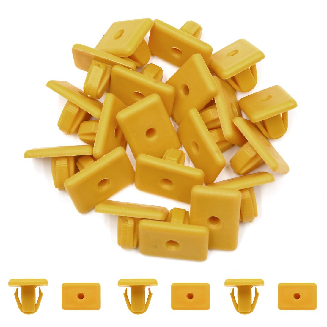 uxcell 20 Pcs Yellow Square Head Plastic Rivets Retainer Clips 12mm x 12mm x 15mm