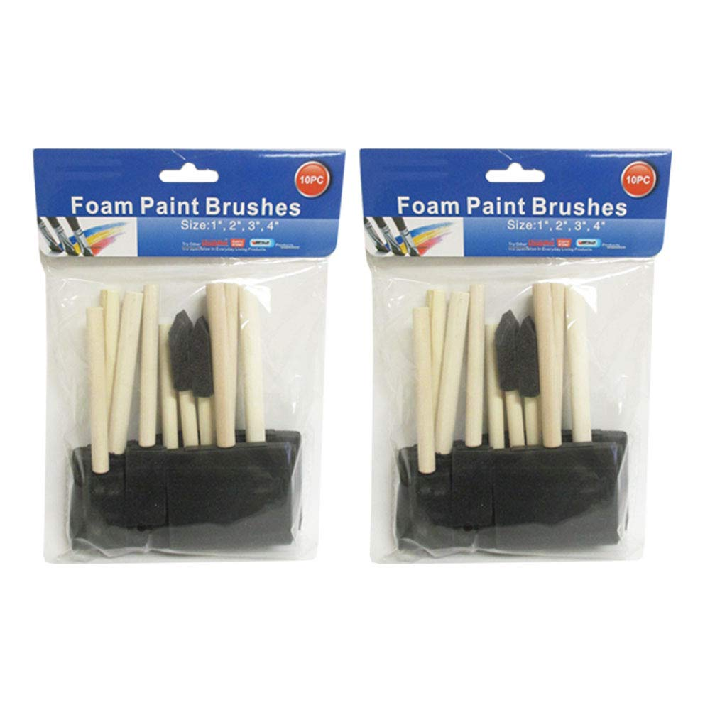 Lot of 20 New Foam Paint Brushes 4 3 2 1 Brush Tool Wood Handle Hobby Crafts