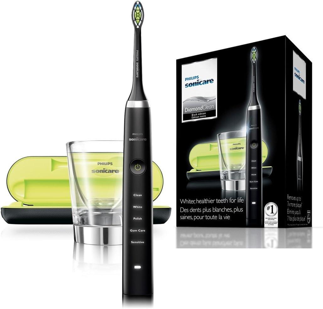 Philips Sonicare DiamondClean HX9352/04 - Cepillo de dientes eléctrico Recargable, 5 Modos, 2 Cabezales, Vaso Cargador y Estuche USB, Color Negro