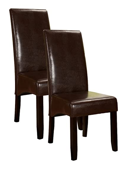 Kingu0027s Brand Set of 2 Brown Parson Chairs With Espresso Finish Solid Wood Legs  sc 1 st  Amazon.com & Amazon.com - Kingu0027s Brand Set of 2 Brown Parson Chairs With Espresso ...