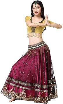 Z&X Mujeres Vientre Danza Falda Bollywood Falda Traje Indio Sari ...