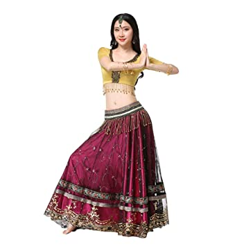 ab3fa04da Z&X Mujeres Vientre Danza Falda Bollywood Falda Traje Indio Sari ...
