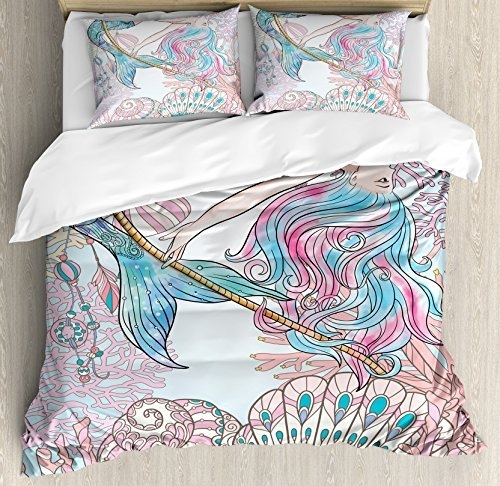 Ambesonne Mermaid Duvet Cover Set, Cartoon Mermaid in Sea Sirens of Greek Myth Female Human with Tail of Fish Image, 3 Piece Bedding Set with Pillow Shams, Queen/Full, Pink Blue