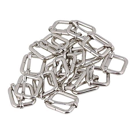 BQLZR 2 cm en métal argenté lourd soudé Tri-glides Boucle curseurs pour  sacs à aeb9df3bd64