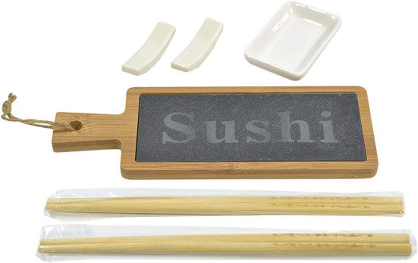 Alpina Set di 6 piatti per sushi in bamb/ù con vassoio in ardesia ecologico