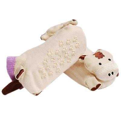 2 Paires Chaussettes bébés Coton Anti-dérapage Chaussettes 0-12 mois(kaki bovin)