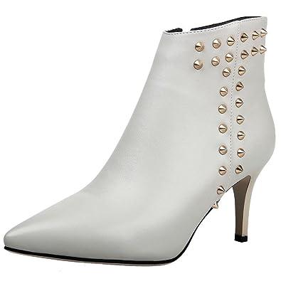 Easemax Damen Elegant Spitze Zehe Metall Nieten Kurzschaft Stiefel Mit Absatz Weiß 36 EU b3yw2