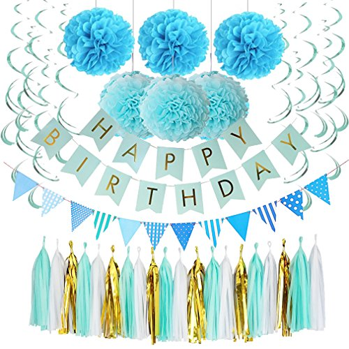 Free Shipping Blue Birthday Decorations Happy Banner With Gold Foil Letters Pom Poms