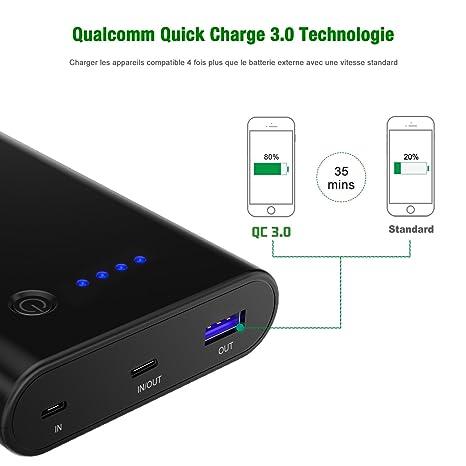 CHOETECH Quick Charge 3.0 Powerbank, 10400mAh USB Tipo C Power Delivery 18W (entrada / salida) Powerbank con cable USB C Compatible con Galaxy S9 / S9 + ...
