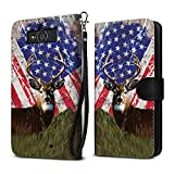 Motorola Droid Mini XT1030 Case, FINCIBO Ultra Slim Protective Carry Flip Canvas Wallet Pouch Case with Credit Card Holder TPU Cover, Vintage American USA Flag Deer