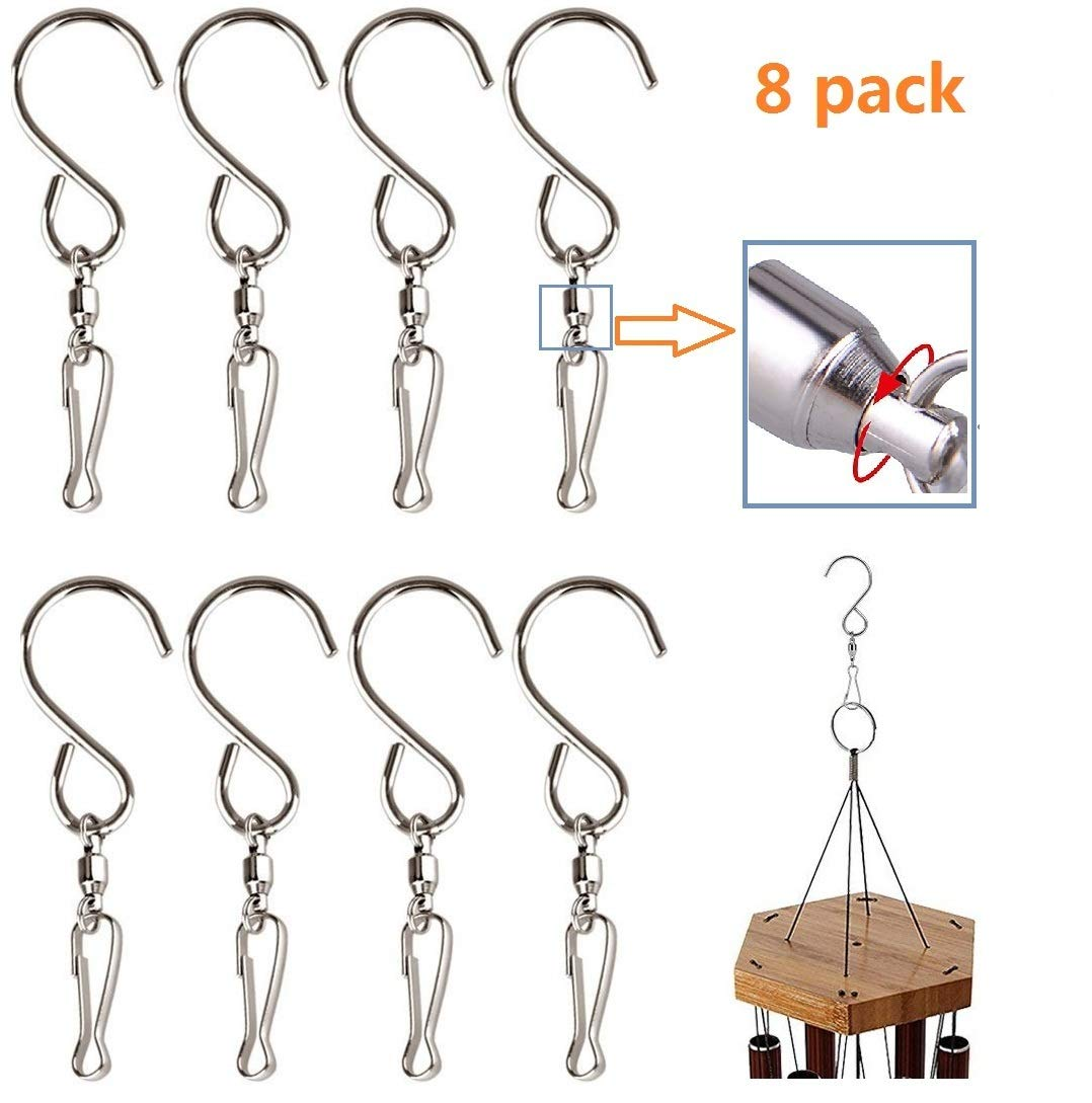 Easest Swivel Hooks, 8 Pack Stainless Steel Swivel Clips Hangers Hanging Hooks for Wind Chimes Mobile Spinners String lights Hanger Crystal Twisters Rotating S Hooks Party Supply Garden Lights Hook