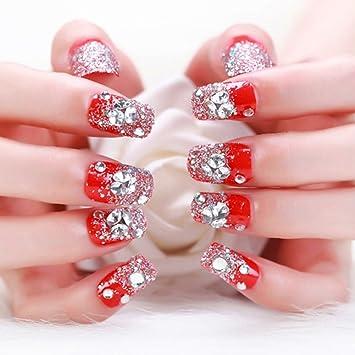 24 puntas falsas de uñas postizas, diseño 3D de diamantes de imitación, para novia, boda, fiesta, cubierta completa: Amazon.es: Belleza