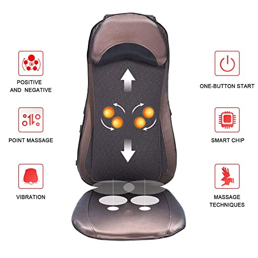 ROTAI Shiatsu Neck & Back Seat Cushion Massager with Deep Kneading, Heat and Full Back Massage