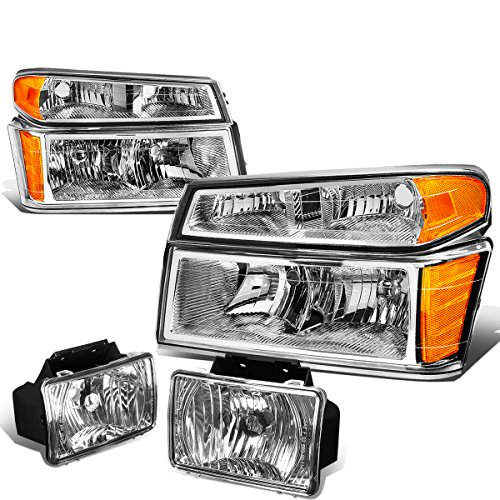 For Colorado/Canyon Pair of Chrome Housing Amber Corner Headlights+Clear Lens Fog Lights (Headlamp Headlight Chrome Canyon)