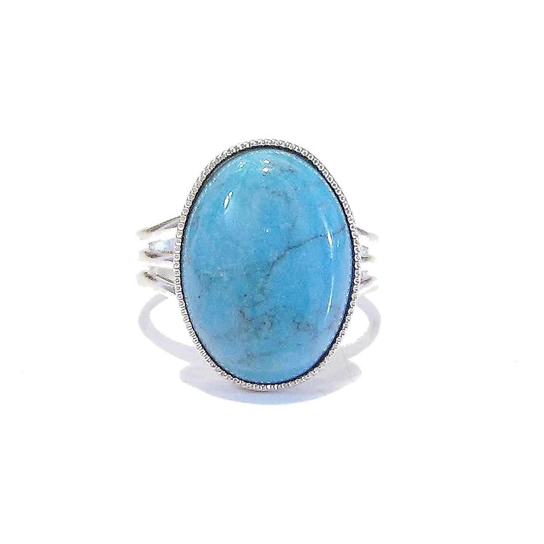 BlackCat Blue Turquoise Gemstone Gold Ring w/10 x 8mm Turquoise - Adjustable SuWPNeq