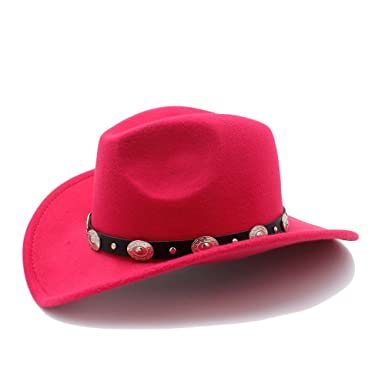 RZL Sombreros Gorras Vintage Womem Hombres Western Cowboy Hat con borde ancho Punk Belt Cowgirl Jazz
