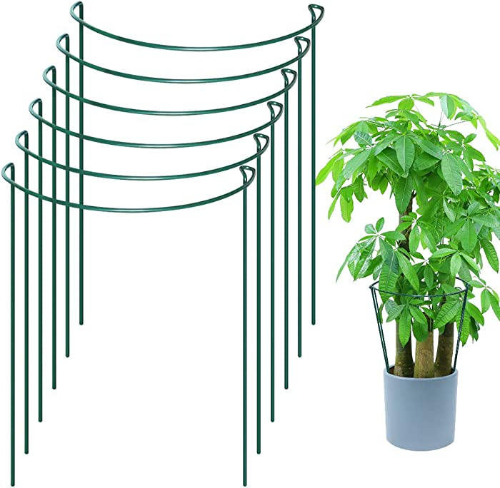 "TLBTEK 6 Pack Plant Support Stakes,Half Round Metal Garden Stakes Supports Sticks, Plant Cages, Flower Plant Support for Tomato, Cucumber,Vine,Vegetables,Pepper, Rose,Hydrangea,Plants(10"" W x 15.8"" H)"