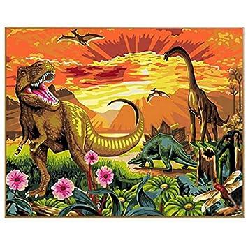 Imagen De Dibujos Animados Dinosaurio Diy Cuadros Modernos Pintados