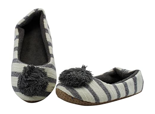 Midwest CBK Woman's Slipper With Grey Poms (Large)
