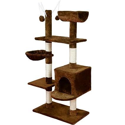 KExing Árboles para Gatos Rascador para Gatos Sisal Plush con Hamaca y Pelota 131cm, Marrón
