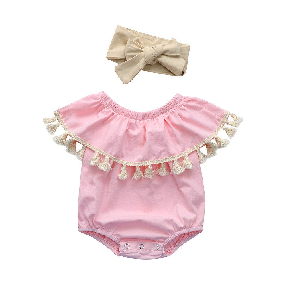 Hevoiok Newborn Infant Toddler Baby Girls Romper Cute Sweet O Neck Ruffles Sleeve Tassel Jumpsuits + Headband Outfits