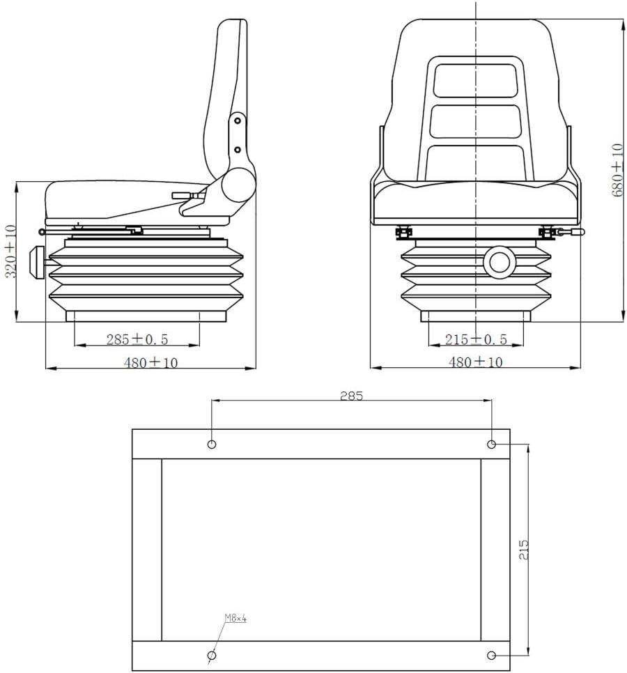 vidaXL Si/ège de tracteur et chariot /él/évateur Dossier r/églable