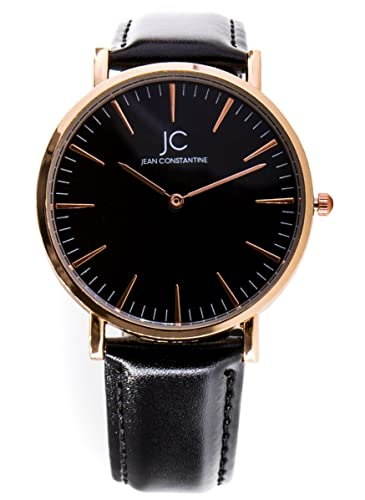 Jean Constantine - Elegante reloj de pulsera para hombre, Negro Rose Oro, Unisex, correa de piel, Atemporal y diseño Moderno, minimalista, 38 mm: Amazon.es: ...