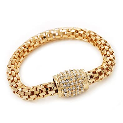 Avalaya Gold Plated Mesh Chain Flex Bangle Bracelet cXgihHU2