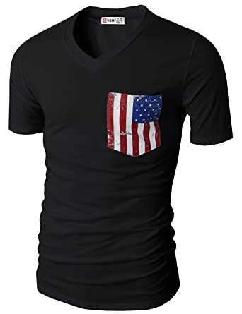 H2H Mens Fashion V-Neck Short Sleeve T-Shirts With American Flag Chest  Pocket