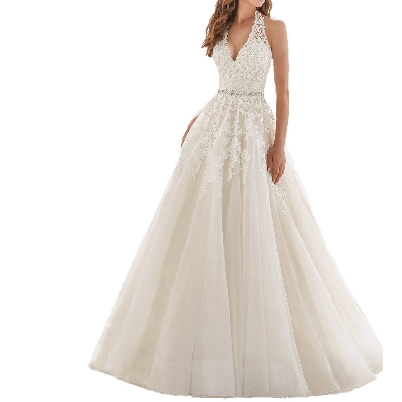 Westcorler Bridal sleeveless halter a-line wedding dress open low back chapel train (18plus, white)