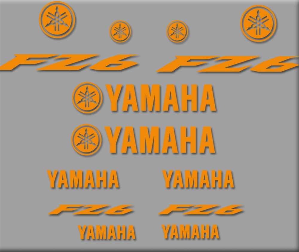 Ecoshirt 0W-ZMV0-EU2Y Stickers Moto Fz6 R271 Stickers Aufkleber Decals Autocollants Adesive Orange