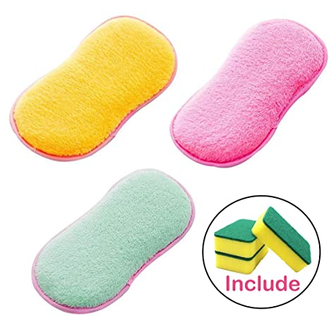 Ansior - 6 esponjas antibacterianas para estropajo de cocina, doble cara, estropajo, herramientas