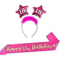 FLOFIA Feliz Diademas Cumpleaños 18th y Banda 18 Cumpleaños Rosa Oro Mujer Kit Corona Tiara Cristal Faja Cumpleaños 18…