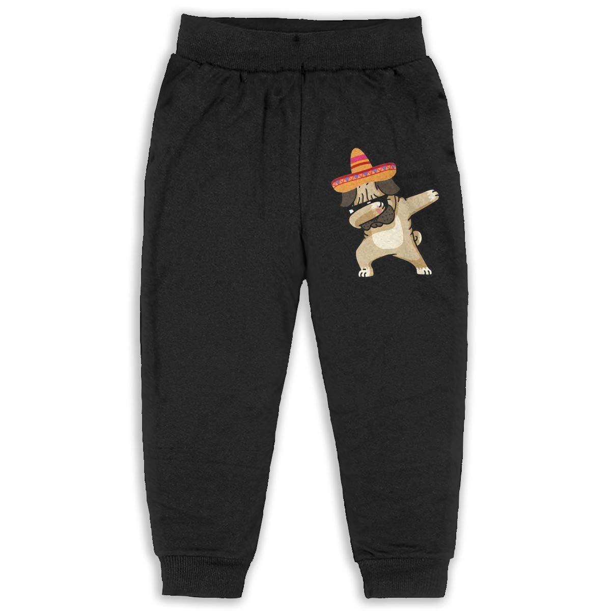 Roli-Land Unisex Boys Dabbing Pug Fashion Daily Sweatpants Black Gift with Pockets Pajamas