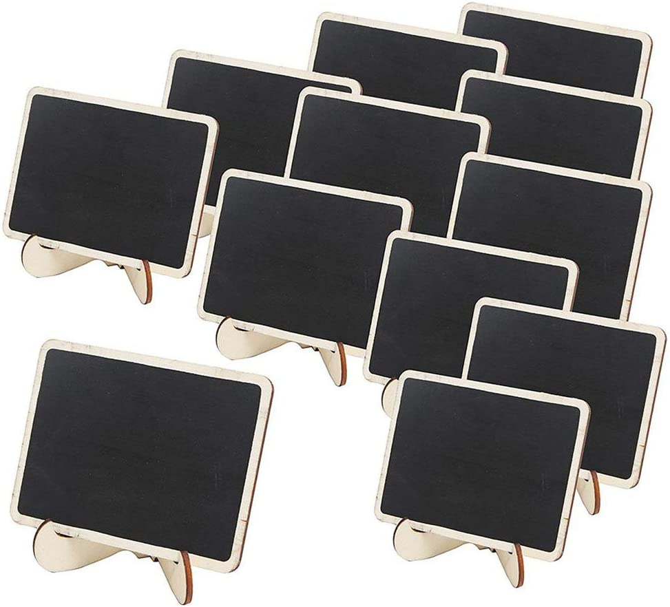 Mini Tableau Noir Mini Panneau Daffichage Paquet De 12 Tableaux Noirs Rectangulaires Avec Support De Chevalet Plaques D/écoratives Pour Repas