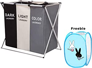 HUNTINGOOD Laundry Basket 3 Sections,Large Dirty Clothes Laundry Bag, Sorter for Bathroom, Foldable Laundry Hamper,Divided, Multicolor (with Blue Love Rabbit Gift)
